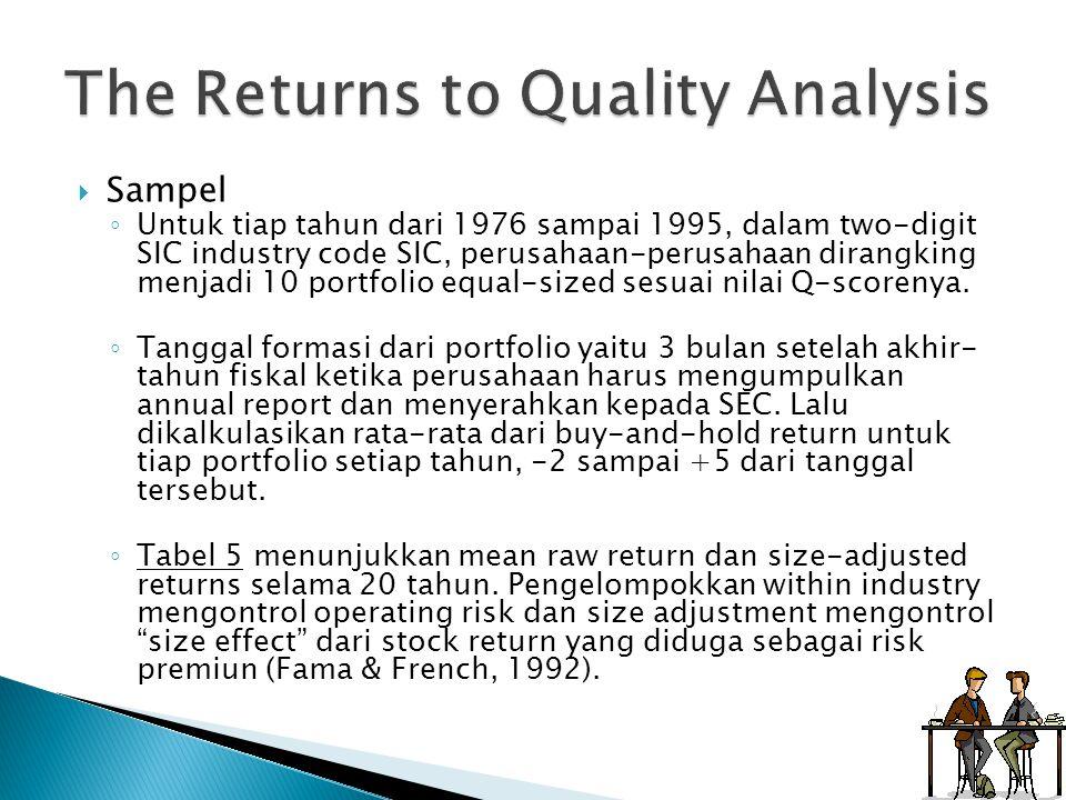  Sampel ◦ Untuk tiap tahun dari 1976 sampai 1995, dalam two-digit SIC industry code SIC, perusahaan-perusahaan dirangking menjadi 10 portfolio equal-