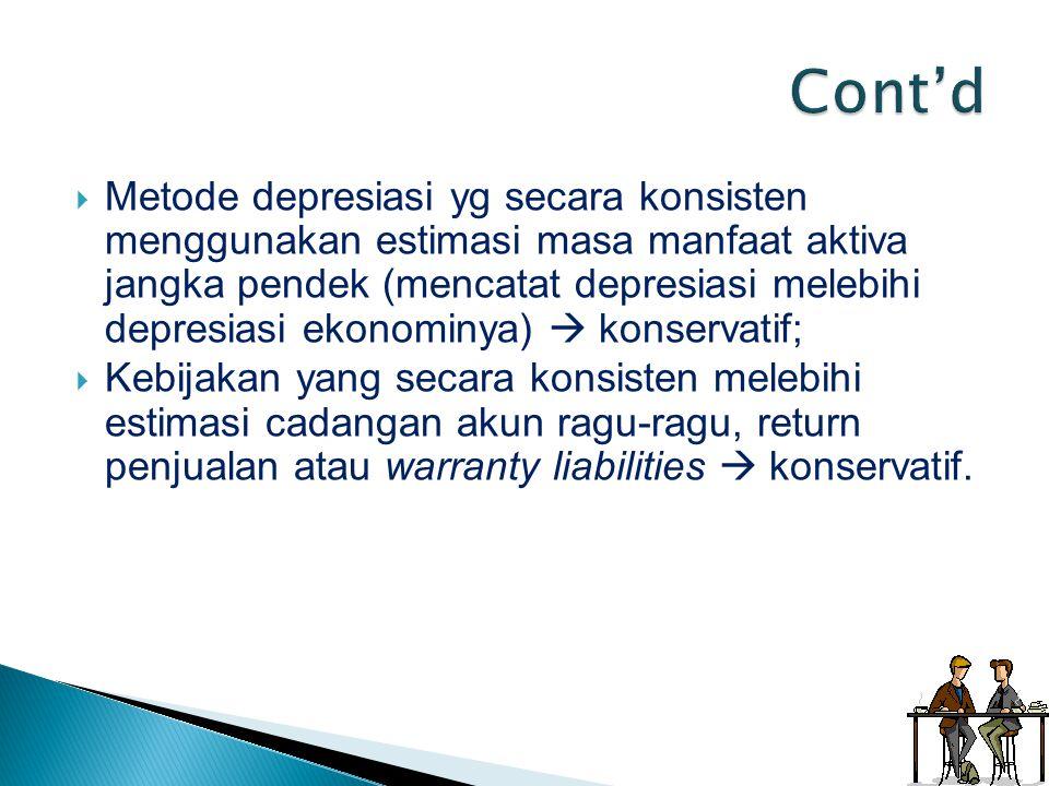  Metode depresiasi yg secara konsisten menggunakan estimasi masa manfaat aktiva jangka pendek (mencatat depresiasi melebihi depresiasi ekonominya) 