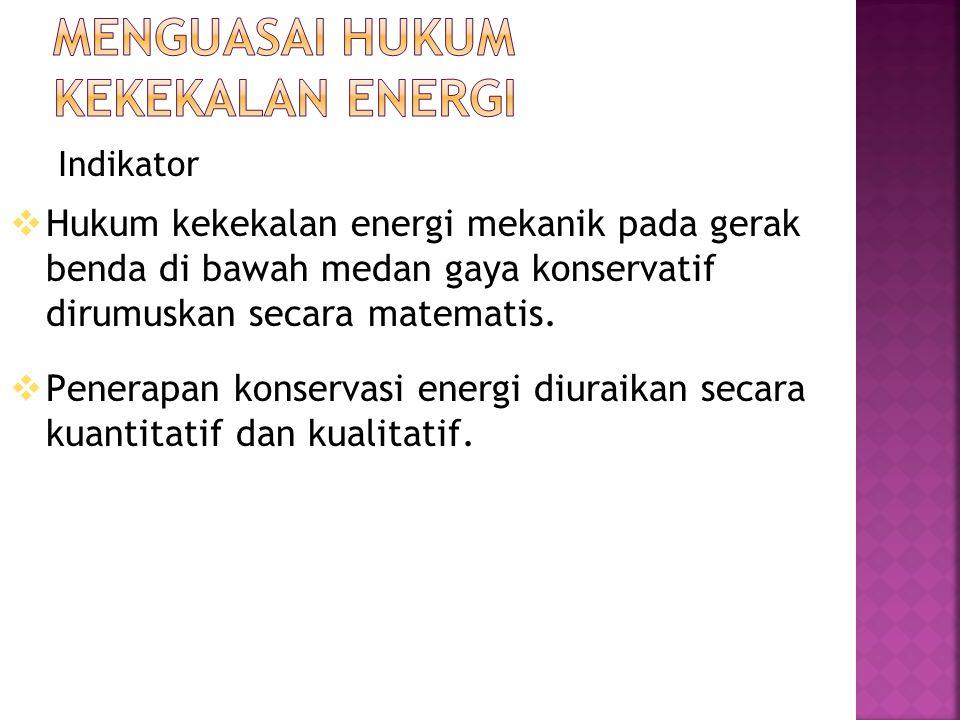Indikator  Hukum kekekalan energi mekanik pada gerak benda di bawah medan gaya konservatif dirumuskan secara matematis.  Penerapan konservasi energi