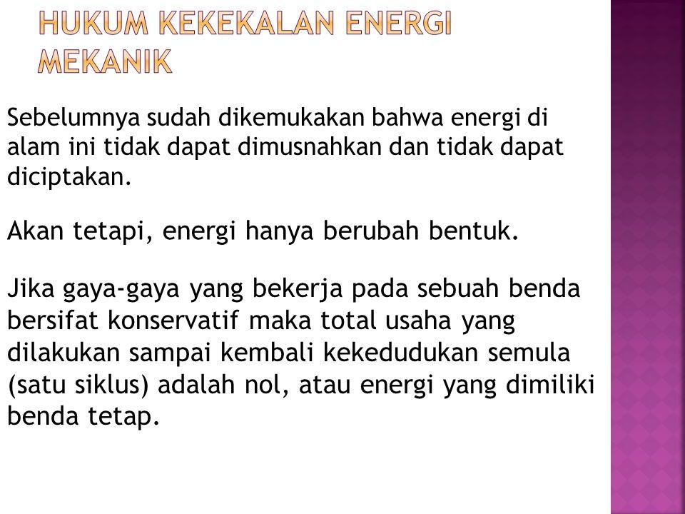 Sebelumnya sudah dikemukakan bahwa energi di alam ini tidak dapat dimusnahkan dan tidak dapat diciptakan. Akan tetapi, energi hanya berubah bentuk. Ji