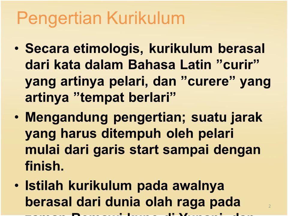 """Pengertian Kurikulum Secara etimologis, kurikulum berasal dari kata dalam Bahasa Latin """"curir"""" yang artinya pelari, dan """"curere"""" yang artinya """"tempat"""