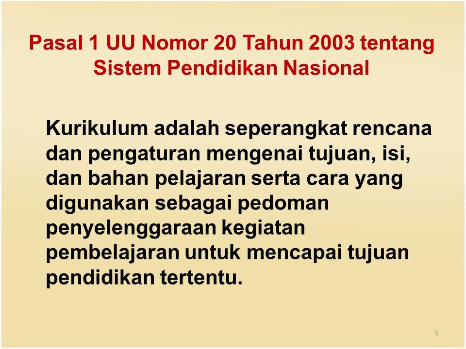 Pasal 1 UU Nomor 20 Tahun 2003 tentang Sistem Pendidikan Nasional Kurikulum adalah seperangkat rencana dan pengaturan mengenai tujuan, isi, dan bahan pelajaran serta cara yang digunakan sebagai pedoman penyelenggaraan kegiatan pembelajaran untuk mencapai tujuan pendidikan tertentu.