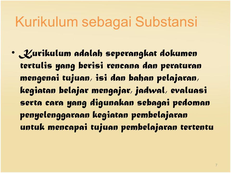Kurikulum sebagai Substansi Kurikulum adalah seperangkat dokumen tertulis yang berisi rencana dan peraturan mengenai tujuan, isi dan bahan pelajaran,