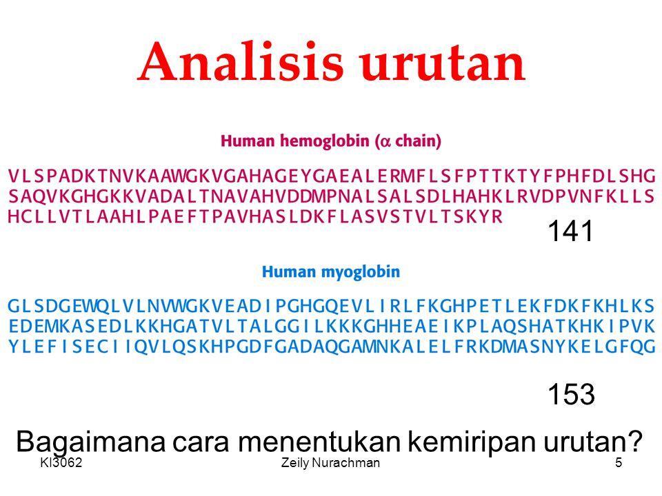 KI3062Zeily Nurachman5 Analisis urutan 141 153 Bagaimana cara menentukan kemiripan urutan?