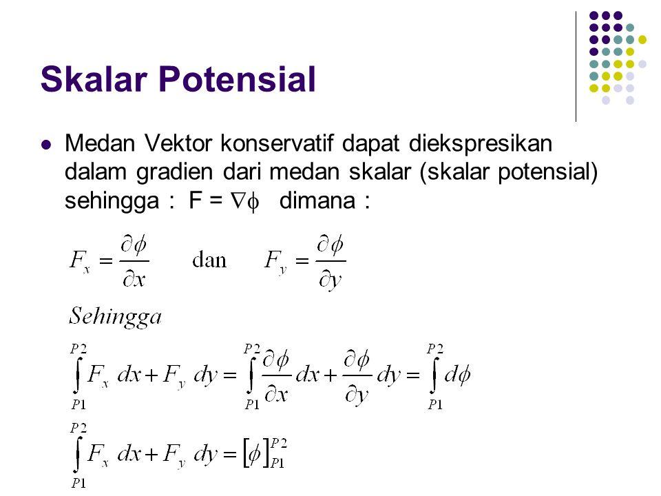 Skalar Potensial Medan Vektor konservatif dapat diekspresikan dalam gradien dari medan skalar (skalar potensial) sehingga : F =  dimana :