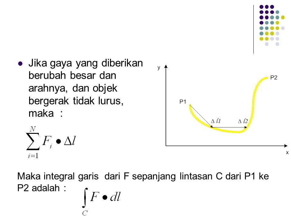 Jika gaya yang diberikan berubah besar dan arahnya, dan objek bergerak tidak lurus, maka : Maka integral garis dari F sepanjang lintasan C dari P1 ke