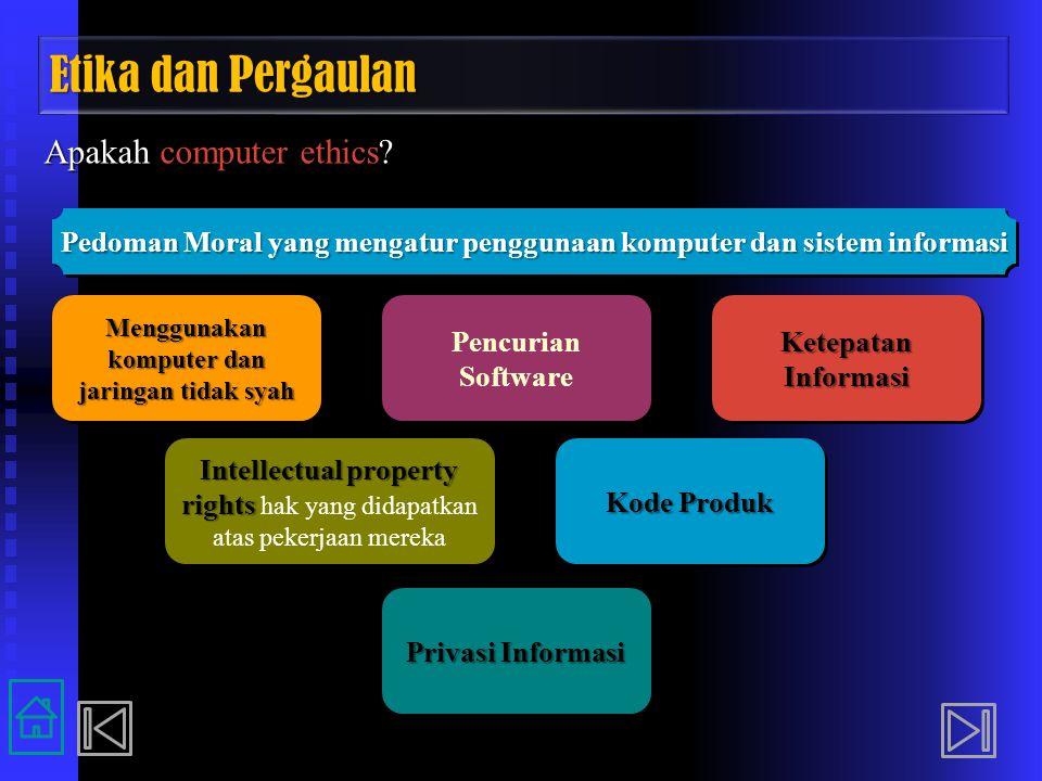 Etika dan Pergaulan Apakah computer ethics? Privasi Informasi Intellectual property rights Intellectual property rights hak yang didapatkan atas peker