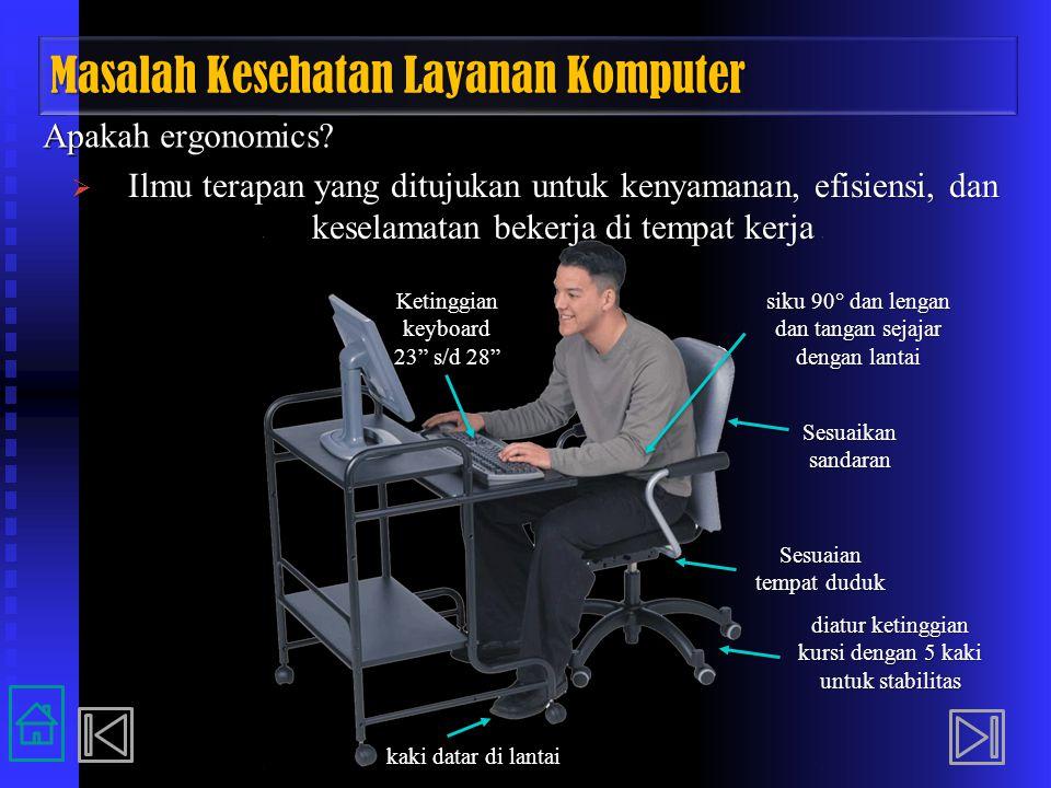 Masalah Kesehatan Layanan Komputer Apakah ergonomics?  Ilmu terapan yang ditujukan untuk kenyamanan, efisiensi, dan keselamatan bekerja di tempat ker