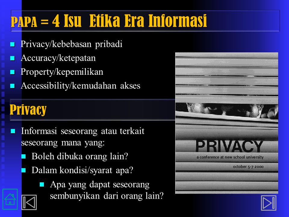 PAPA = 4 Isu Etika Era Informasi Privacy/kebebasan pribadi Privacy/kebebasan pribadi Accuracy/ketepatan Accuracy/ketepatan Property/kepemilikan Proper