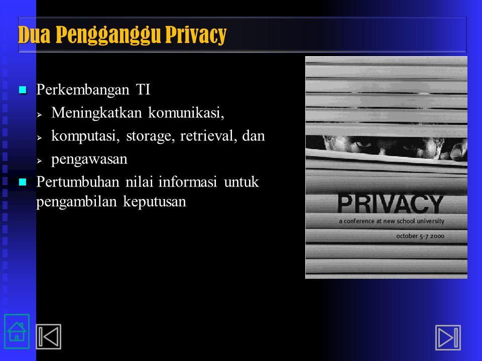 Dua Pengganggu Privacy Perkembangan TI Perkembangan TI  Meningkatkan komunikasi,  komputasi, storage, retrieval, dan  pengawasan Pertumbuhan nilai