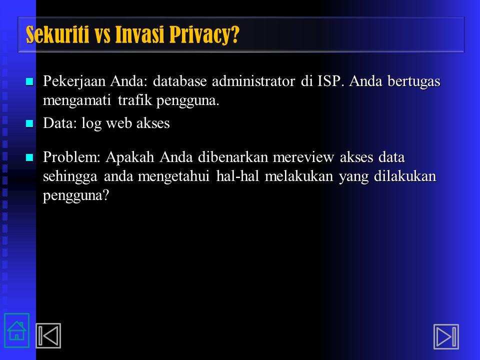 Sekuriti vs Invasi Privacy? Pekerjaan Anda: database administrator di ISP. Anda bertugas mengamati trafik pengguna. Pekerjaan Anda: database administr