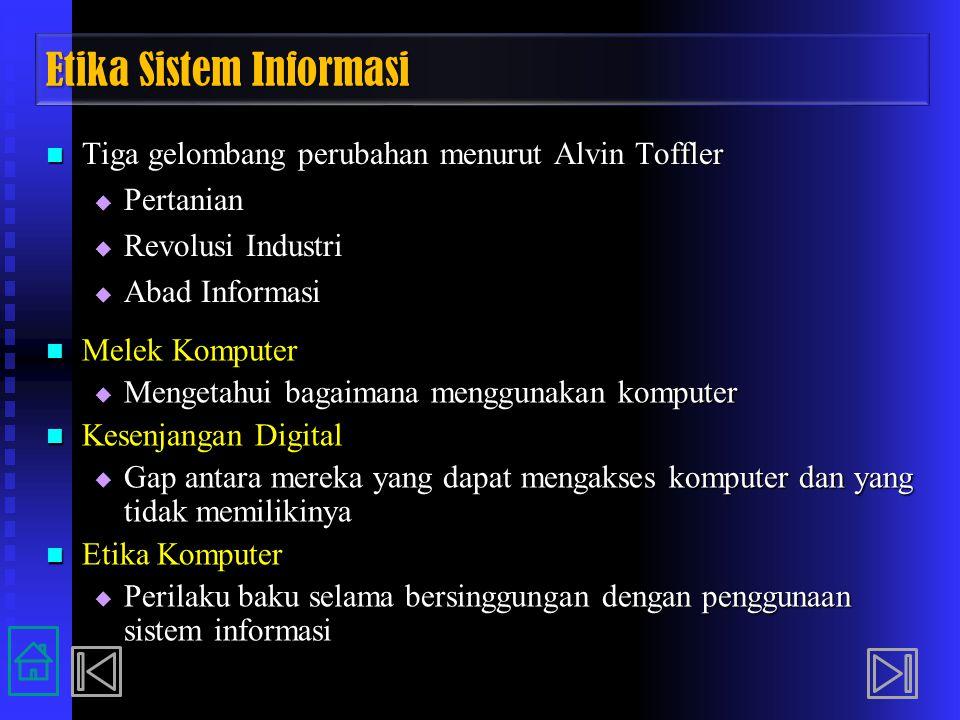 Etika Sistem Informasi Tiga gelombang perubahan menurut Alvin Toffler Tiga gelombang perubahan menurut Alvin Toffler  Pertanian  Revolusi Industri 