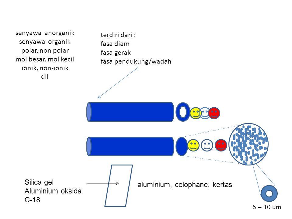 Kromatografi Gas-Cair (GLC) Kromatografi Gas-Padat (GSC) Kromatografi Cair-Cair Klasik (KCC) Kromatografi Lapis Tipis (TLC) Kromatografi Cair Kinerja Tinggi (HPLC-r.phase) Kromatografi Lapis Tipis Kinerja Tinggi (HPTLC) Kromatografi Cair Padat Klasik (KCP) Kromatografi Cair Kinerja Tinggi (HPLC-normal) Kromatografi Penukar Ion (IEC) (IE-HPLC) Kromatografi Eksklusi (GEC) Kromatografi Gel Permeasi (GPC) Mekanisme Pemisahan Partisi Adsorpsi Partisi Partisi dimodifikasi Adsorpsi Penukar ion Pori-pori Fase gerak Fase diam Gas Cair Padat Cair Padat Cair modifikasi