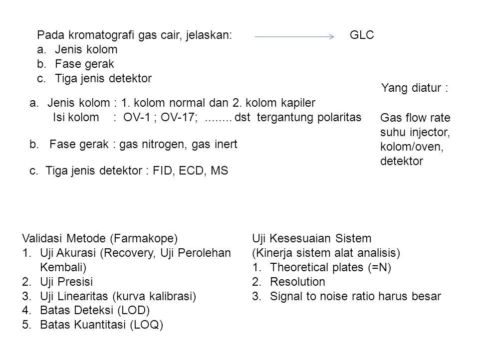 Pada kromatografi gas cair, jelaskan: a.Jenis kolom b.Fase gerak c.Tiga jenis detektor GLC a.Jenis kolom : 1. kolom normal dan 2. kolom kapiler Isi ko