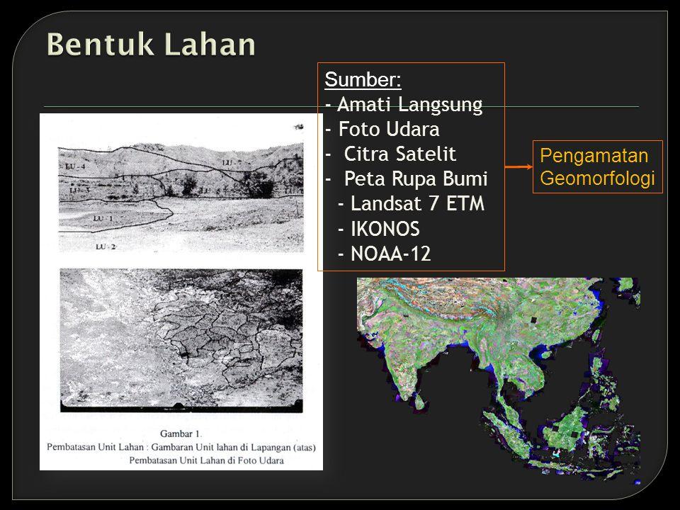 Sumber: - Amati Langsung - Foto Udara - Citra Satelit - Peta Rupa Bumi - Landsat 7 ETM - IKONOS - NOAA-12 Pengamatan Geomorfologi