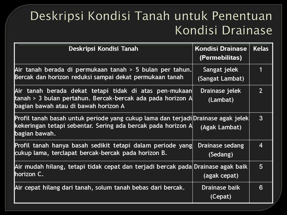 Deskripsi Kondisi Tanah Kondisi Drainase (Permebilitas) Kelas Air tanah berada di permukaan tanah > 5 bulan per tahun.