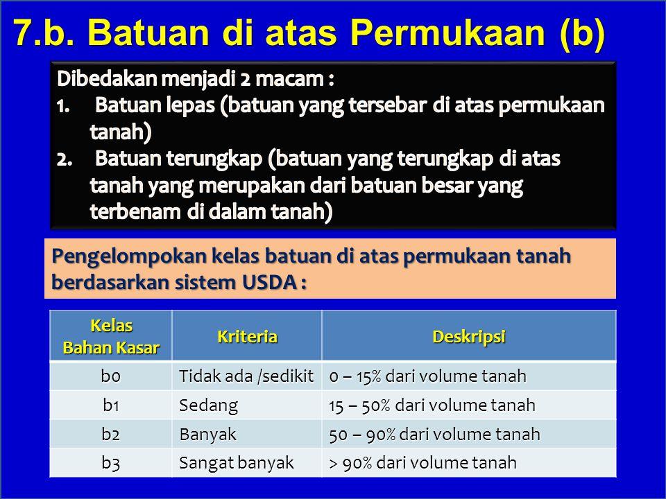 Kelas Bahan Kasar KriteriaDeskripsib0 Tidak ada /sedikit 0 – 15% dari volume tanah b1Sedang 15 – 50% dari volume tanah b2Banyak 50 – 90% dari volume t