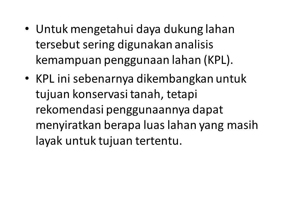 Untuk mengetahui daya dukung lahan tersebut sering digunakan analisis kemampuan penggunaan lahan (KPL). KPL ini sebenarnya dikembangkan untuk tujuan k