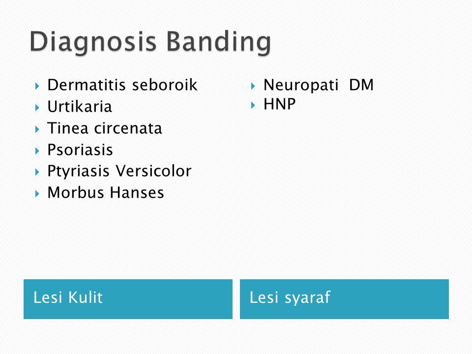 Lesi KulitLesi syaraf  Dermatitis seboroik  Urtikaria  Tinea circenata  Psoriasis  Ptyriasis Versicolor  Morbus Hanses  Neuropati DM  HNP