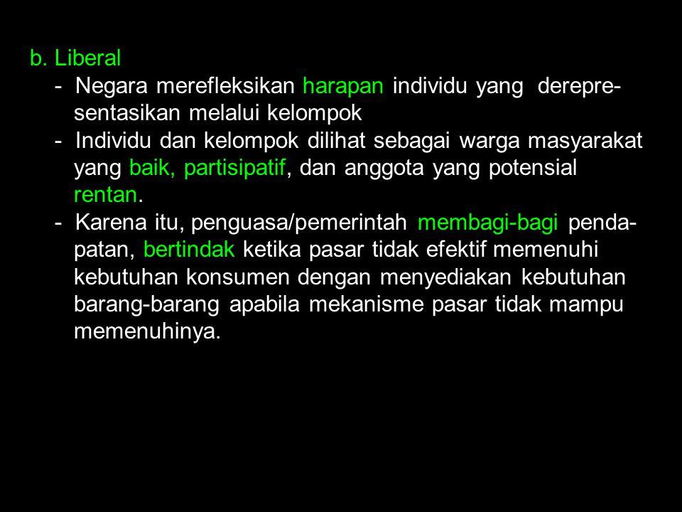 b. Liberal - Negara merefleksikan harapan individu yang derepre- sentasikan melalui kelompok - Individu dan kelompok dilihat sebagai warga masyarakat