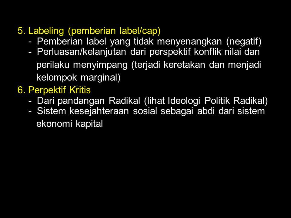 5. Labeling (pemberian label/cap) - Pemberian label yang tidak menyenangkan (negatif) - Perluasan/kelanjutan dari perspektif konflik nilai dan perilak