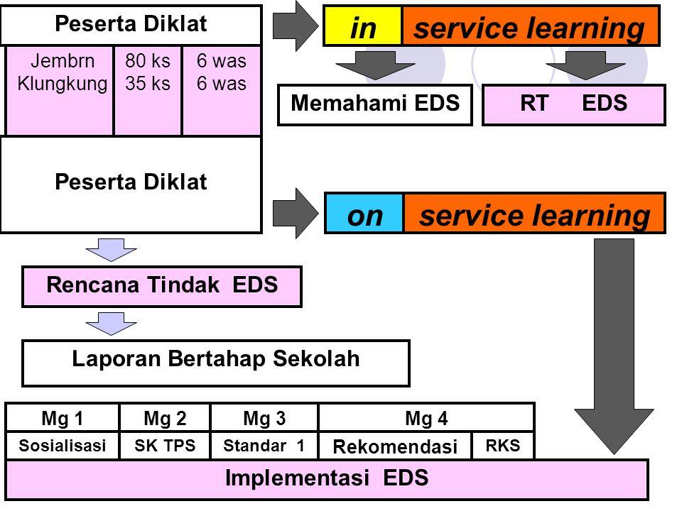 Memahami EDS Laporan Bertahap Sekolah Mg 1 SK TPS Mg 2Mg 3 Standar 1 Mg 4 Rekomendasi RKS Peserta Diklat service learningin Jembrn Klungkung 80 ks 35