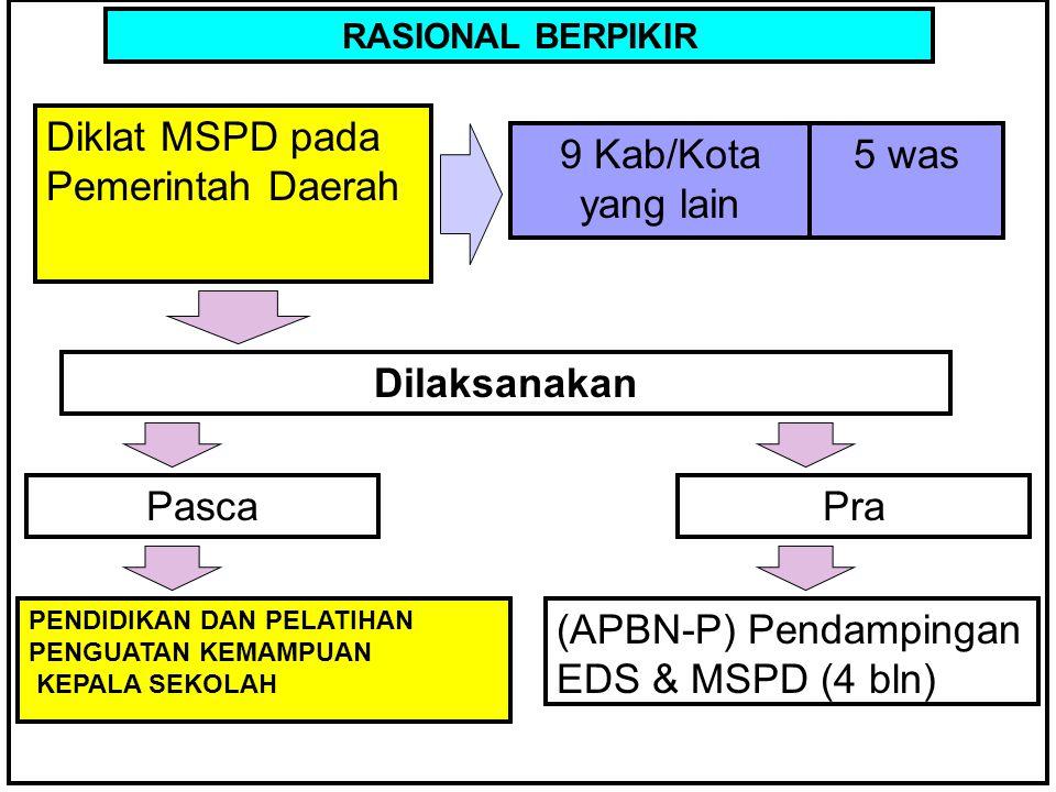KERANGKA BERPIKIR RASIONAL BERPIKIR Diklat MSPD pada Pemerintah Daerah 9 Kab/Kota yang lain 5 was (APBN-P) Pendampingan EDS & MSPD (4 bln) Dilaksanaka