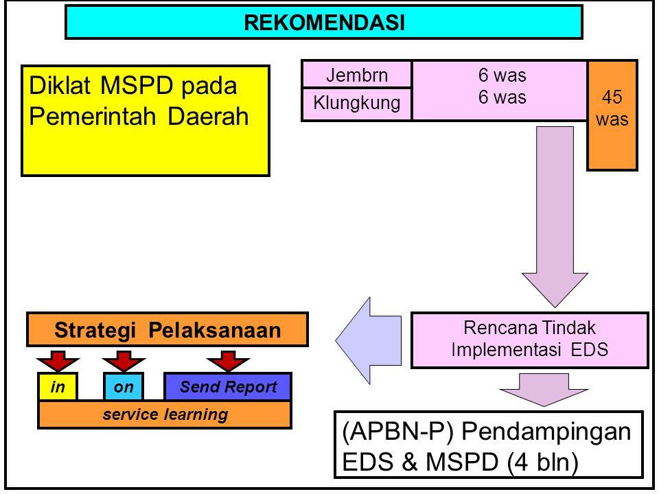 KERANGKA BERPIKIR REKOMENDASI Diklat MSPD pada Pemerintah Daerah Jembrn6 was Rencana Tindak Implementasi EDS (APBN-P) Pendampingan EDS & MSPD (4 bln) Klungkung 45 was inonSend Report service learning Strategi Pelaksanaan
