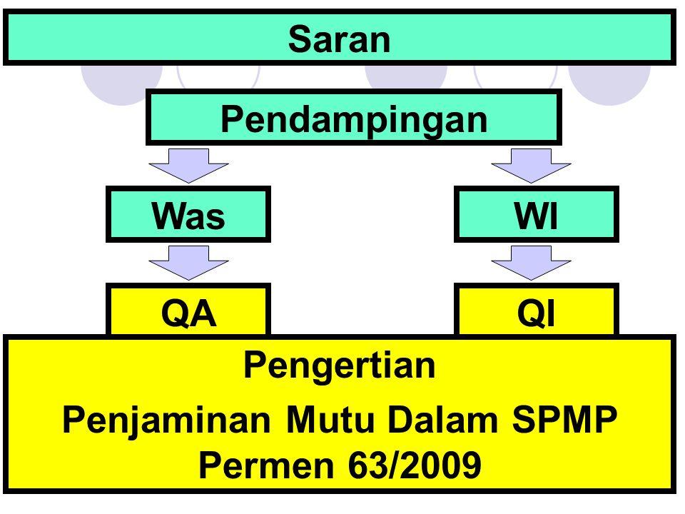Saran Pendampingan WasWIWI QIQIQAQA Pengertian Penjaminan Mutu Dalam SPMP Permen 63/2009