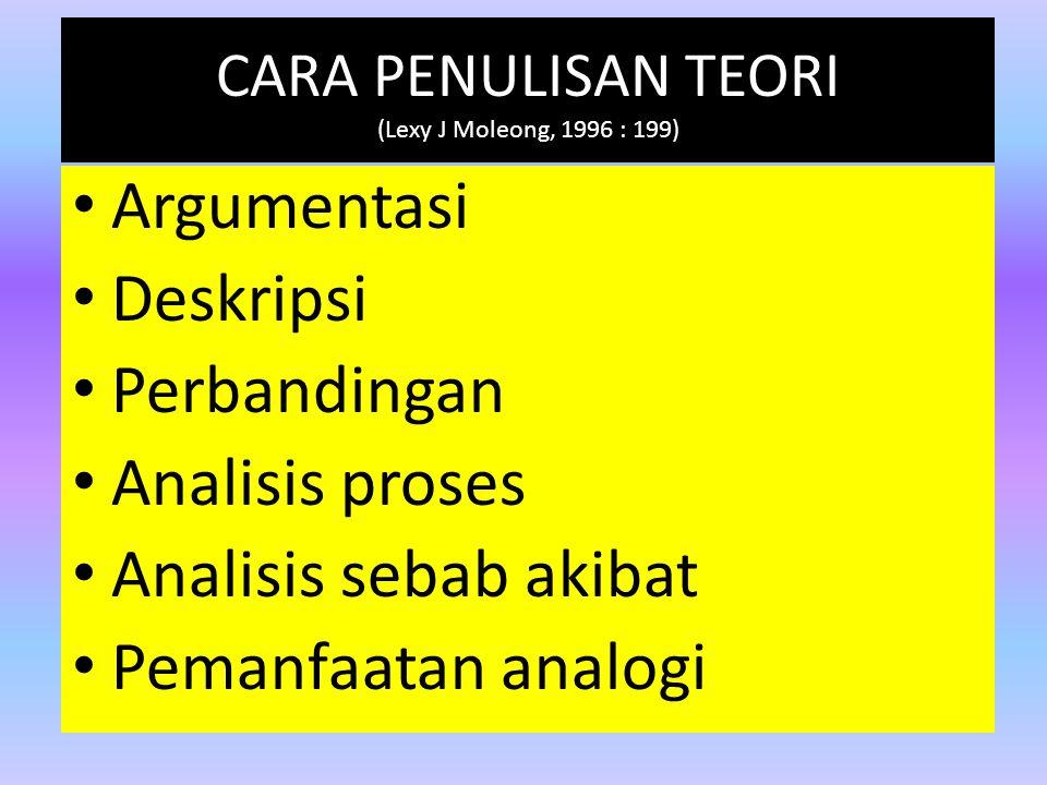 CARA PENULISAN TEORI (Lexy J Moleong, 1996 : 199) Argumentasi Deskripsi Perbandingan Analisis proses Analisis sebab akibat Pemanfaatan analogi
