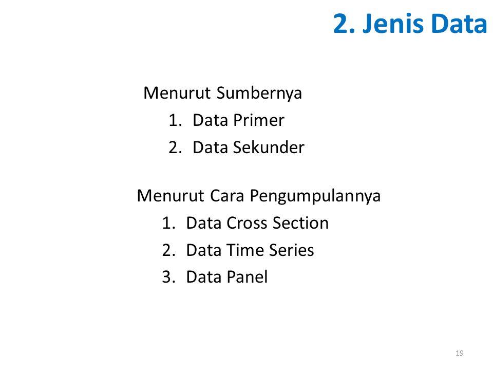 2. Jenis Data Menurut Cara Pengumpulannya 1.Data Cross Section 2.Data Time Series 3.Data Panel 19 Menurut Sumbernya 1.Data Primer 2.Data Sekunder