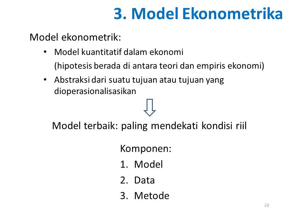 3. Model Ekonometrika Komponen: 1.Model 2.Data 3.Metode 24 Model ekonometrik: Model kuantitatif dalam ekonomi (hipotesis berada di antara teori dan em