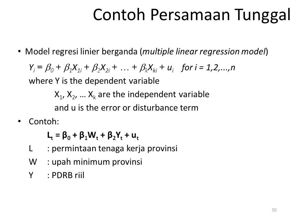 Contoh Persamaan Tunggal Model regresi linier berganda (multiple linear regression model) Y i =  0 +  1 X 1i +  2 X 2i + … +  k X ki + u i for i =