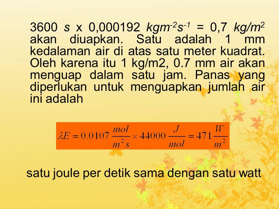 3600 s x 0,000192 kgm -2 s -1 = 0,7 kg/m 2 akan diuapkan. Satu adalah 1 mm kedalaman air di atas satu meter kuadrat. Oleh karena itu 1 kg/m2, 0.7 mm a