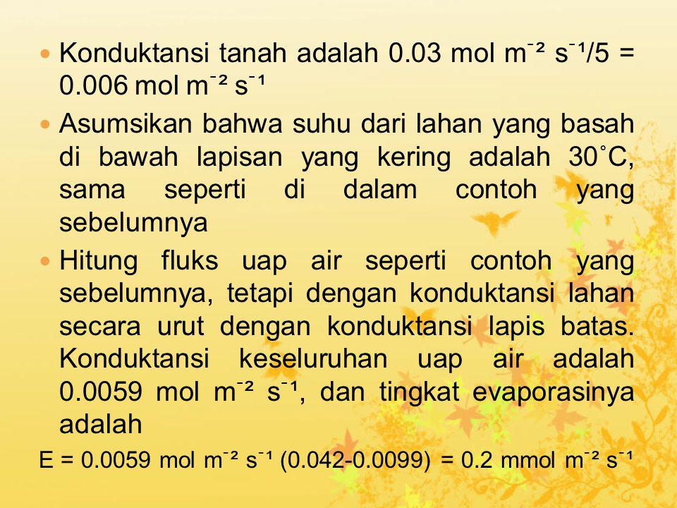 Konduktansi tanah adalah 0.03 mol mֿ² sֿ¹/5 = 0.006 mol mֿ² sֿ¹ Asumsikan bahwa suhu dari lahan yang basah di bawah lapisan yang kering adalah 30˚C, sama seperti di dalam contoh yang sebelumnya Hitung fluks uap air seperti contoh yang sebelumnya, tetapi dengan konduktansi lahan secara urut dengan konduktansi lapis batas.