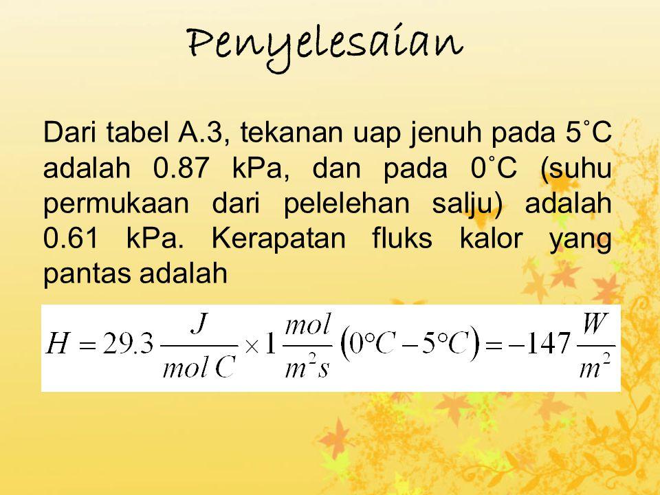 Penyelesaian Dari tabel A.3, tekanan uap jenuh pada 5˚C adalah 0.87 kPa, dan pada 0˚C (suhu permukaan dari pelelehan salju) adalah 0.61 kPa. Kerapatan