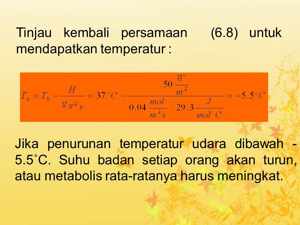 Jika penurunan temperatur udara dibawah - 5.5˚C. Suhu badan setiap orang akan turun, atau metabolis rata-ratanya harus meningkat. Tinjau kembali persa