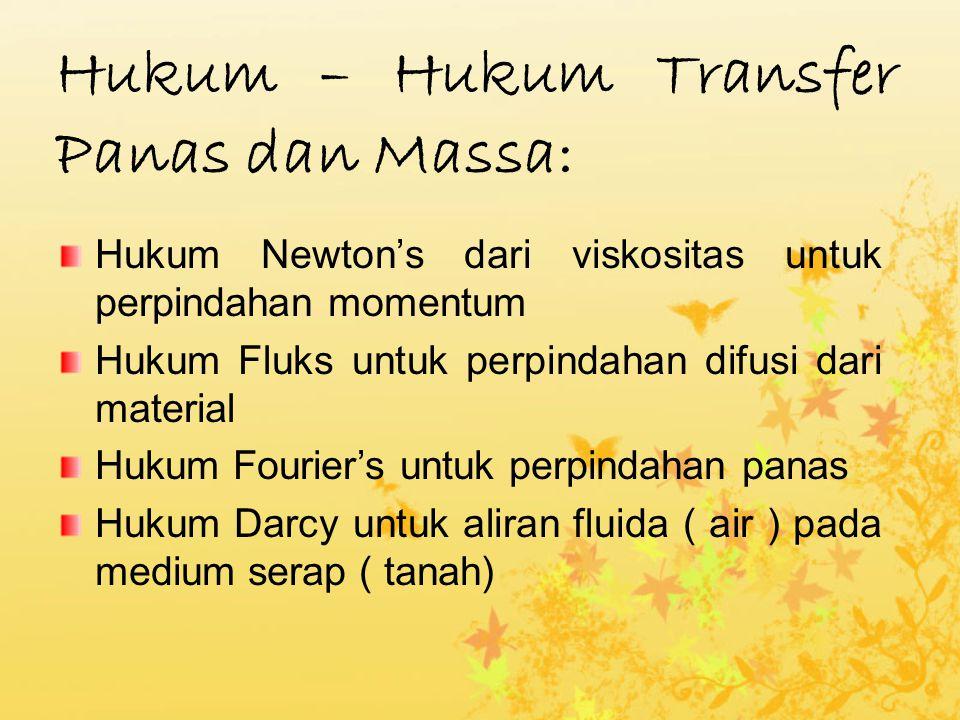 Hukum – Hukum Transfer Panas dan Massa: Hukum Newton's dari viskositas untuk perpindahan momentum Hukum Fluks untuk perpindahan difusi dari material Hukum Fourier's untuk perpindahan panas Hukum Darcy untuk aliran fluida ( air ) pada medium serap ( tanah)