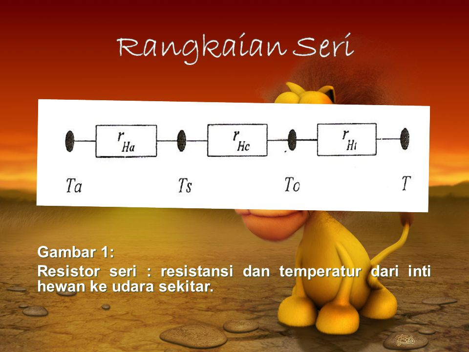 Rangkaian Seri Contoh : Aliran panas dari inti hewan ke udara sekitar.