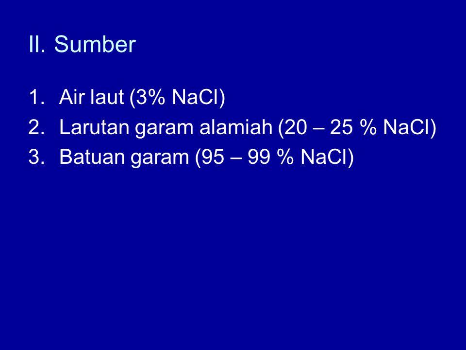 II. Sumber 1.Air laut (3% NaCl) 2.Larutan garam alamiah (20 – 25 % NaCl) 3.Batuan garam (95 – 99 % NaCl)