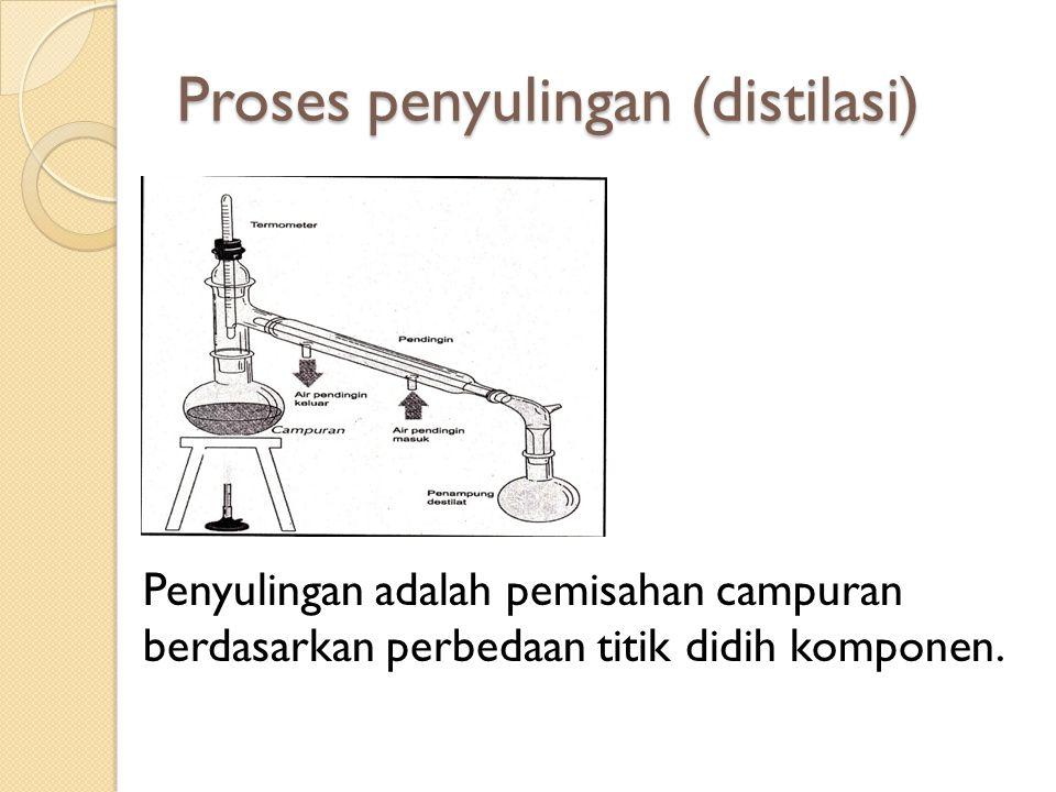 Proses penyulingan (distilasi) Penyulingan adalah pemisahan campuran berdasarkan perbedaan titik didih komponen.