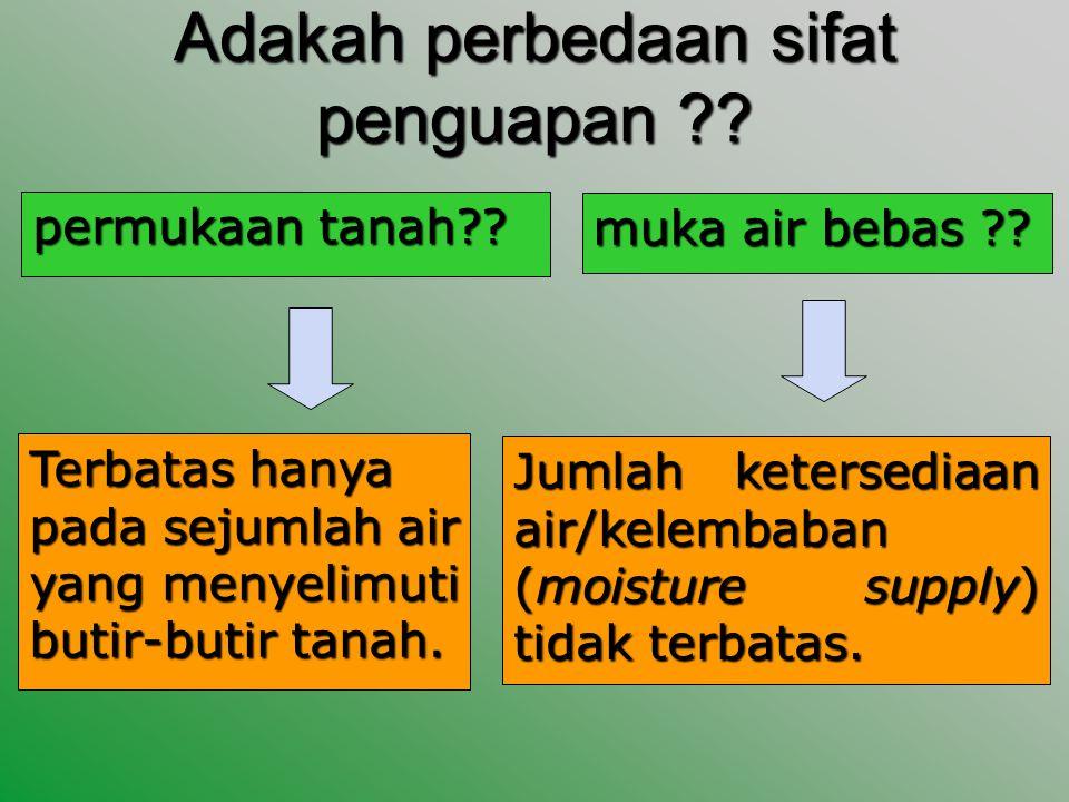 Adakah perbedaan sifat penguapan ?.permukaan tanah?.