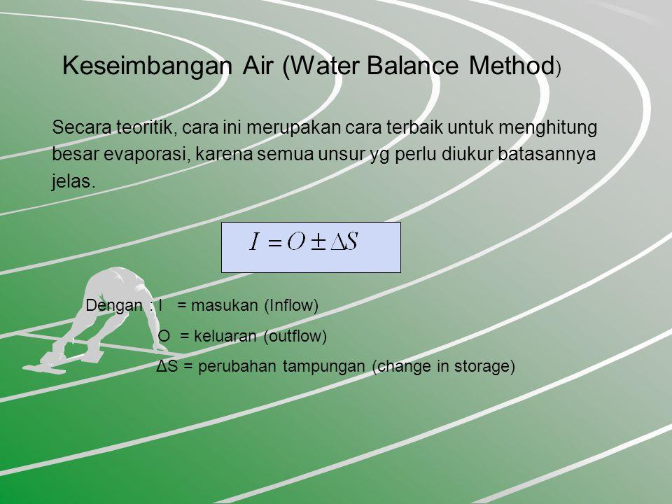 Keseimbangan Air (Water Balance Method ) Secara teoritik, cara ini merupakan cara terbaik untuk menghitung besar evaporasi, karena semua unsur yg perlu diukur batasannya jelas.