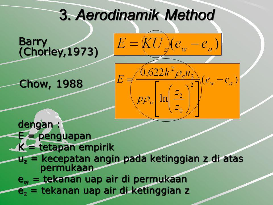 3. Aerodinamik Method Barry (Chorley,1973) Chow, 1988 dengan : E = penguapan K = tetapan empirik u z = kecepatan angin pada ketinggian z di atas permu