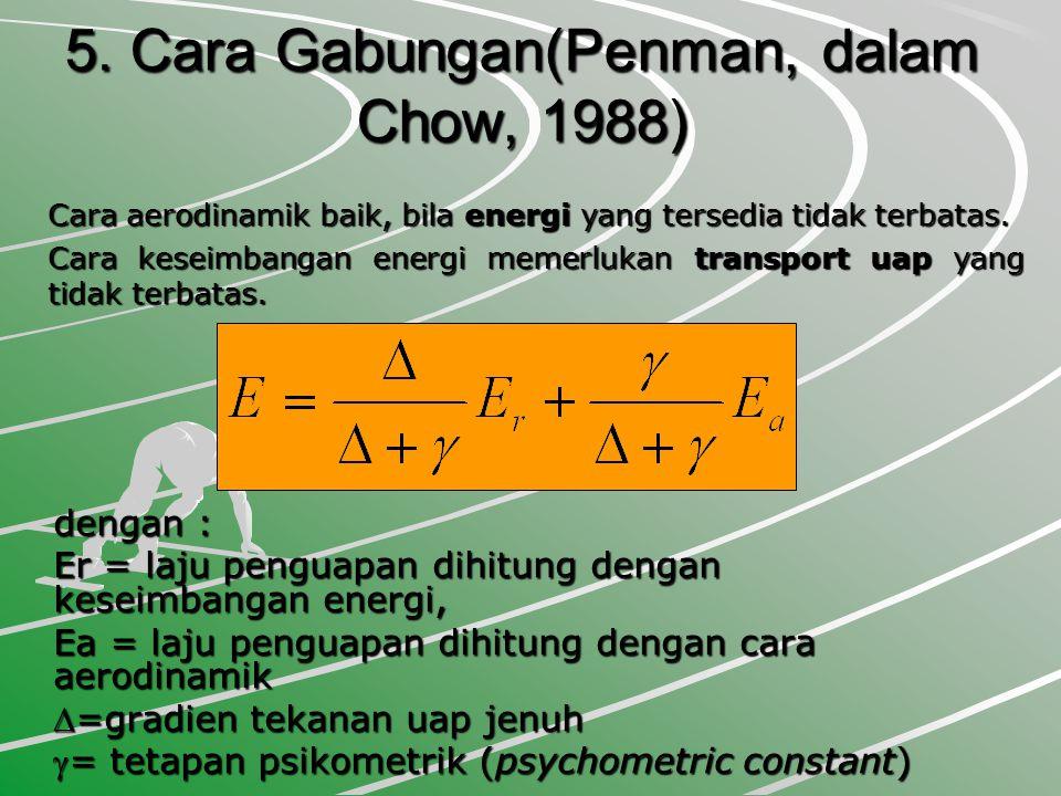 5. Cara Gabungan(Penman, dalam Chow, 1988) dengan : Er = laju penguapan dihitung dengan keseimbangan energi, Ea = laju penguapan dihitung dengan cara