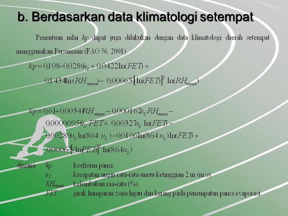 b. Berdasarkan data klimatologi setempat