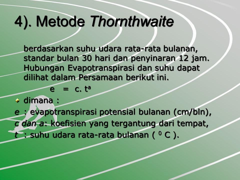 4). Metode Thornthwaite berdasarkan suhu udara rata-rata bulanan, standar bulan 30 hari dan penyinaran 12 jam. Hubungan Evapotranspirasi dan suhu dapa