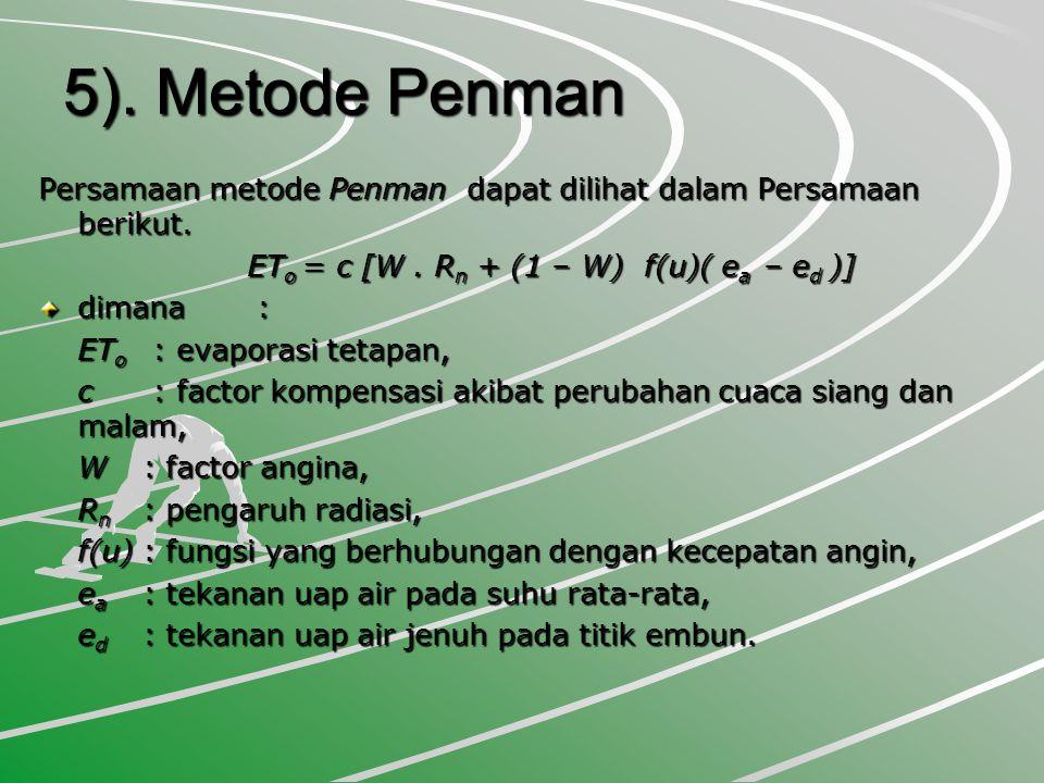 5).Metode Penman Persamaan metode Penman dapat dilihat dalam Persamaan berikut.