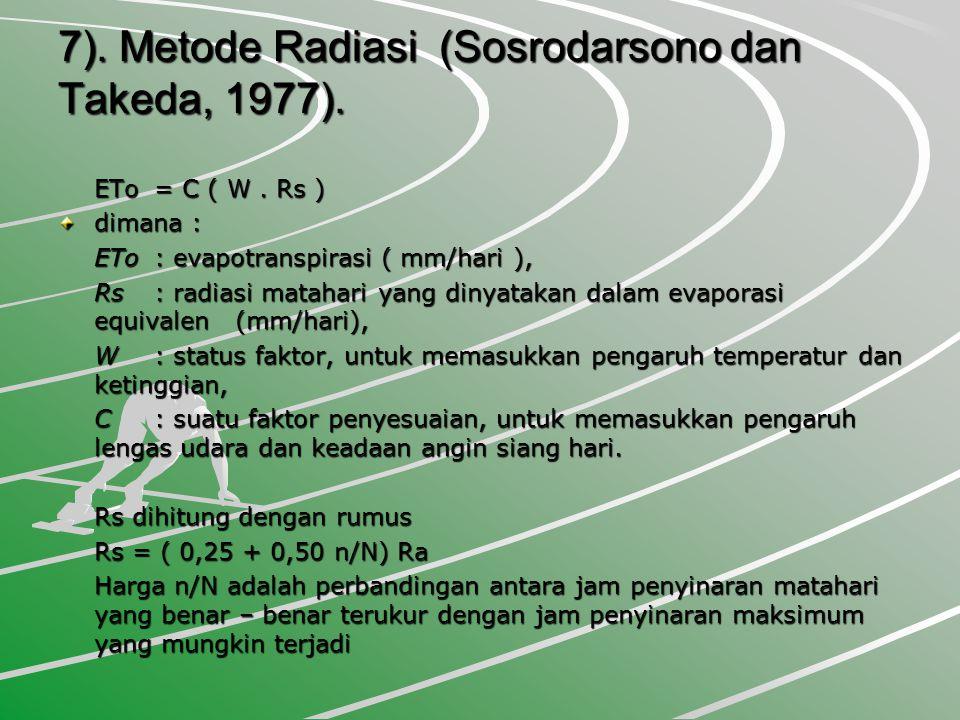 7).Metode Radiasi (Sosrodarsono dan Takeda, 1977).