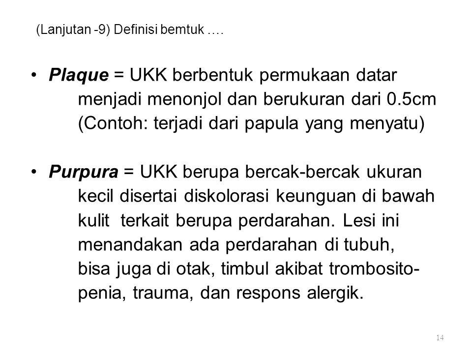 (Lanjutan -9) Definisi bemtuk …. Plaque = UKK berbentuk permukaan datar menjadi menonjol dan berukuran dari 0.5cm (Contoh: terjadi dari papula yang me
